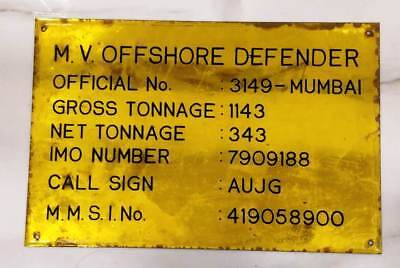 vintage marine brass ship  name plate of m.v offshore defender 100% original