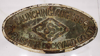 vintage marine brass ship plaques kurushima dockyard co ltd launching oct 1984