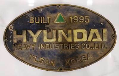 vintage marine brass ship salvage name plate of hyundai ulsan korea built 1995