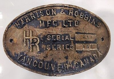 rare vintage marine brass ship name plate of harrison & robbins mfg ltd canada