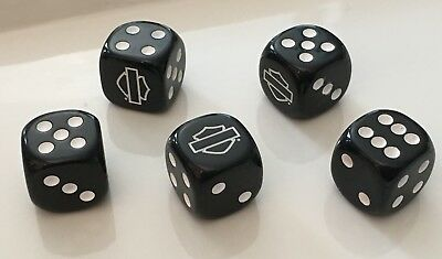 Harley Davidson Bar & Shield Logo Dice-Set/5, Black w/White-NEW