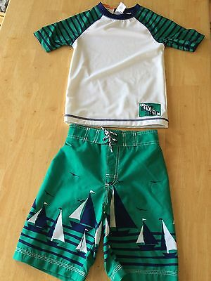 25e1afb75e NWT GYMBOREE BOYS Wave Rash Guard Swim trunk Set 5/6, 7/8 - $22.91 ...