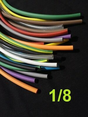 """1/8""""   3.1mm   ASSORTED *12*COLORS 2:1 heat shrink tubing polyolefin (6' FOOT)"""