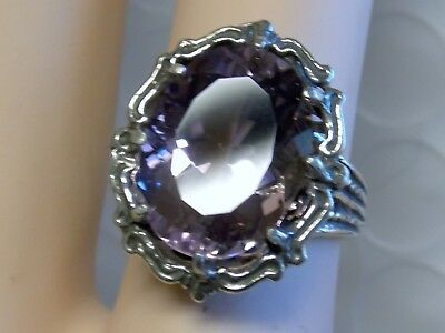 NATURAL Purple Amethyst filigree antiqued 925 sterling silver ring size 6.5 USA