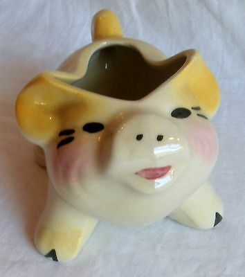PIG Planter ~Cute ~ Small ~ Colorful ~ Happy Pig ~ Yellow & Pink Ceramic
