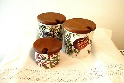 3 Vintage Dunoon Pottery Storage Jars With Wooden Lids - Flora Pattern