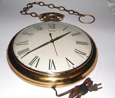 "Large 13"" Vintage Brass Roman Numeral Wall Powered Clock"