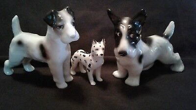 Trio of Vintage Hand Painted Porcelain Erphila Dogs Early Marks