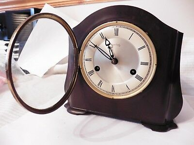 Smiths Walnut Westminster Chiming Key wound pendelum Mantle Clock Good WORKING