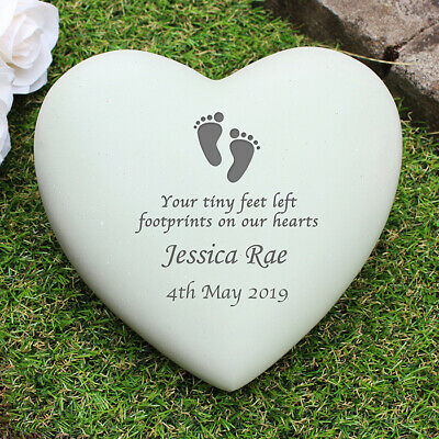 Personalised Infant Baby Memorial Footprint Heart Grave Garden Marker Cemetery