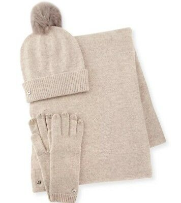 ** NWT BOXED** UGG Cashmere -Wool-Blend Gloves, Beanie & Scarf -