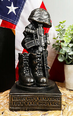Patriotic Fallen Soldier Memorial Statue Military Rifle Helmet Boots And Dog Tag