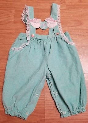 Vintage  Baby Girl Romper Teal with Ducks size 6-9 months