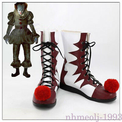 Stephen King's It Shoes Pennywise Clown Joker Cosplay Boots Halloween Costume HY