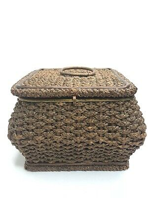 Antique Wooden Woven Sewing Basket Lid with Handle Red Tufted Satin Germany K&Co