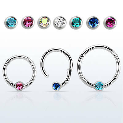 16G Hinged Segment Ring Nose Septum Nipple Ring Surgical Steel with Gem Ball end