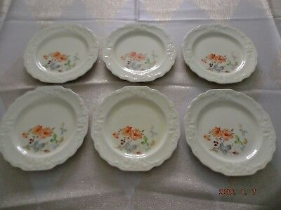 W.S. George Rare Fleurette 11pc Canarytone Orange Flowers Gray and Green Leaves