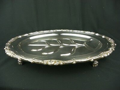 Art Nouveau English Silver Plated Footed Meat Carving Platter Vintage