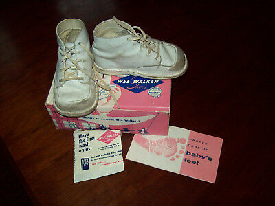 Vtg 1959 Toddler  Baby High Top Leather Shoes In Original Box Size 4 So Cute!!