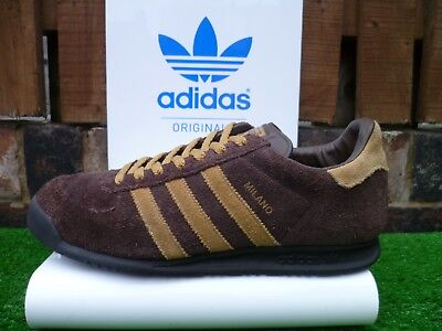 9acc5da9a69 VINTAGE ADIDAS MILANO 80s casuals boxed UK9 BROWN COLOURWAY 2013 RARE LOOK!