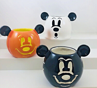 Disney Mickey Mouse Halloween Candle Votive Holders Bat Ghost Jack o Lantern Set