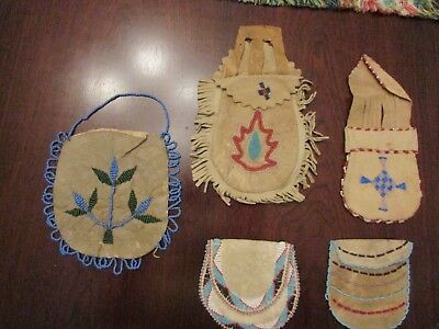 Native American Antique/ Old Vintage Beaded Pouches  ( 5 pc collectors lot )
