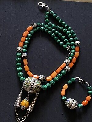 Tagmoute enameled Morrocan Berber Tribal Necklace with malachite & quartzite