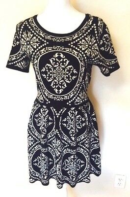 88b58343bf Romeo and Juliet Couture Womens Black and White Print Knit Dress A-line Size  L