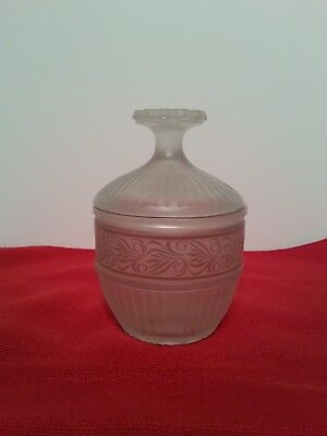 "Frosted Glass Covered Decorative Jar 5 1/2"" Tall"
