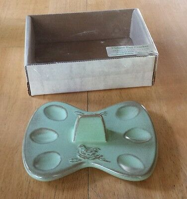 RARE Vtg. Frankoma Pottery Egg Cracker # 253 In Box Prarie Green HTF