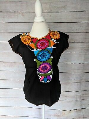 Mexican Embroidered Blouse with Flowers Frida Kahlo Black Blouse Size M