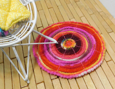 Dollhouse Miniature Round Pink and Yellow Throw Rug - Artist Made by Kyle Lefort
