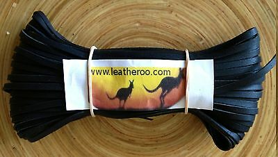 "Kangaroo Lace BLACK Kangaroo Leather Lacing (3.0mm 1/8"" Width) 20 meter hank"