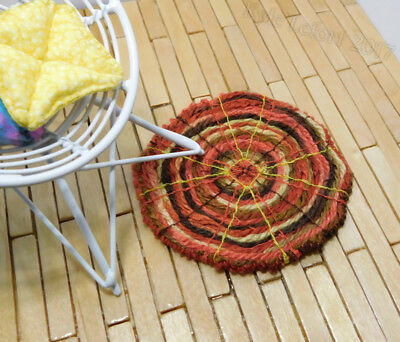 Dollhouse Miniature Round Red Yellow and Brown Rug - Artist Made by Kyle Lefort