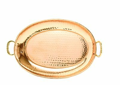 """Old Dutch 17 X 13 Solid Copper Oval Tray with Cast Brass Handle 17"""""""
