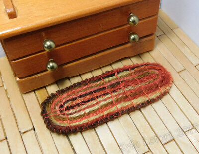 Dollhouse Miniature Oblong Red Yellow and Brown Rug - Artist Made by Kyle Lefort