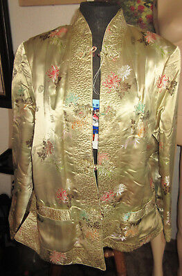Chinese Peony Silk Wadding Padded Mens Jacket  Sz.40 Reversible NWT