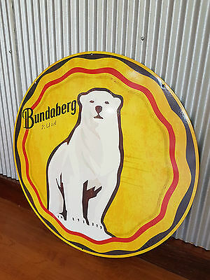 Large Round Bundy Rum Metal tin sign Man cave bar Garage Bundy Bear