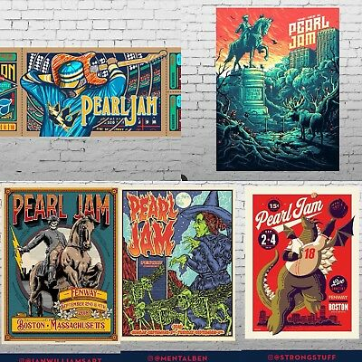 Set Of All 5 Pearl Jam Posters Lot 2018 Boston Fenway The Away Shows! Brand New!