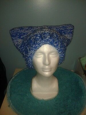 Handmade Blue and White/Silver Cat Hat, Adult, Knitted, New, Never Worn