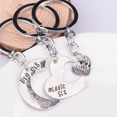 Fashion Jewelry Big Middle Little Sister Keyring Key Chain Heart Pendant