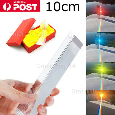 10cm Optical Glass Triple Triangular Prism Physics Teaching Light Spectrum newly