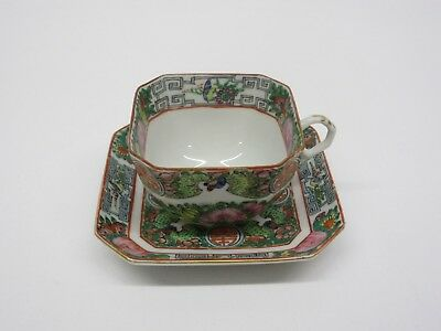 One Antique Chinese Rose Medallion Porcelain Octangular Tea Cup and Saucer