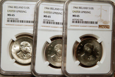 Ngc Ms-65 Ireland Silver 10 Shillings 1966 (Easter Uprising)