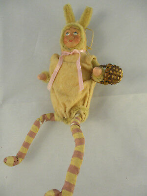 Antique Christmas Cotton Spun Ornament Boy in Bunny Suit