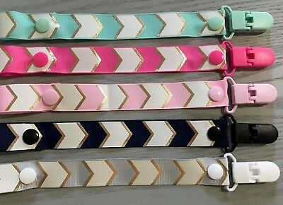 CHEVRON FOIL PATTERN Girl Baby Dummy Clip/Pacifier Chain/Binky Band/Soother Baby