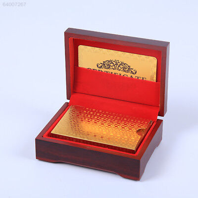 C8AB 24K Gold Foil Plated Waterproof Game Grid Pattern Playing Cards With Wood B