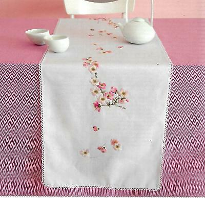 """APPLE BLOSSOM"" Quality RUNNER EMBROIDERY KIT.Stamped 40 X 150cm 100% cotton!"