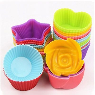 6pcs Silicone Soft Cake Muffin Chocolate Cupcake Bakeware Baking Cup Mould Mold