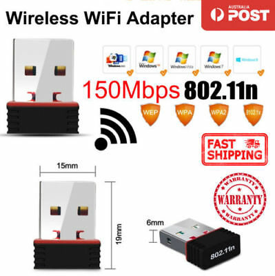 WiFi Adapter Nano USB Wireless 802.11n Network Dongle 150Mbps For PC Laptop AU